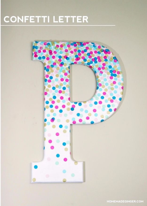DIY Wall Letters and Initals Wall Art - DIY Confetti Letter - Cool Architectural Letter Projects for Living Room Decor, Bedroom Ideas. Girl or Boy Nursery. Paint, Glitter, String Art, Easy Cardboard and Rustic Wooden Ideas http://diyprojectsforteens.com/diy-projects-with-letters-wall