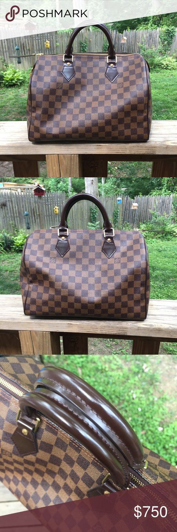 Authentic Louis Vuitton Speedy 30 Damier Ebene Authentic Louis Vuitton Speedy 30 in Damier Ebene. Bag is in overall very good to excellent condition, showing only minor signs of wear. There is a small scuff in the middle (base), minor scuffing on corners, faint knicks on handles, and a scuff on the outside tag. This bag is spotless inside! Date code is SD1038. Extremely selective trading! TV higher. Poshmark will authenticate your purchase. Thanks for looking! Louis Vuitton Bags Satchels