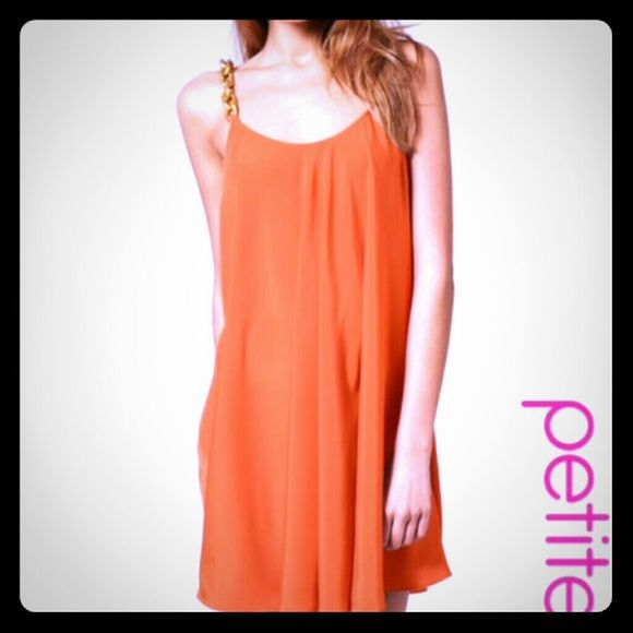 Orange Coral Dress Orange Coral Gold Chain straps Dress... Beautiful dress wore once. ASOS Dresses