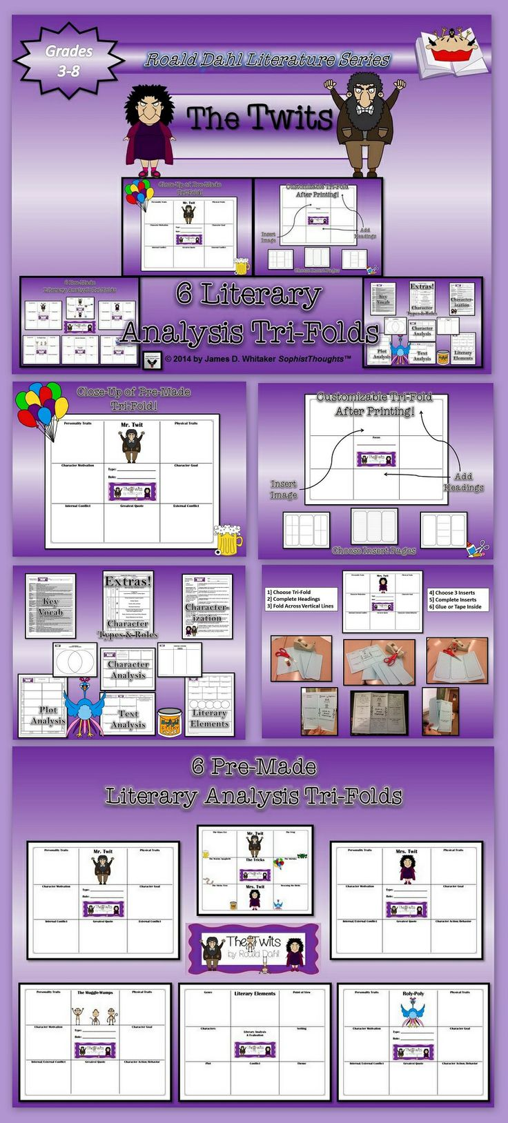 Explore the idiosyncrasies and antics of the characters in Roald Dahl's dastardly novel The Twits. You can design your own foldable (after printing) by creating your own headings. You can also have students create them for a more inclusive activity. Tri-Folds are the perfect companion activity for the novel. Works well for bulletin board display, end project, book report or traditional essay alternative.