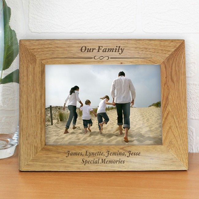 Walnut photo frame personalise with 3 lines