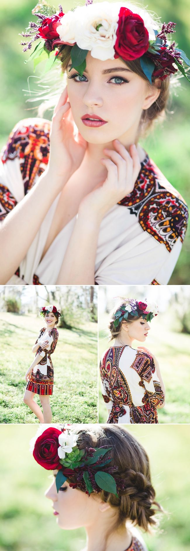 Senior portraits with floral flower crown - Ling Wang Photography - Jessica Pettey