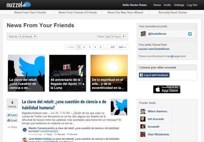 Excelente lector de noticias sociales basado en Twitter y Facebook