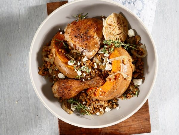 Banting-friendly feast: roast chicken and pumpkin with lentils • A no-fuss meal that's delicious and filling.