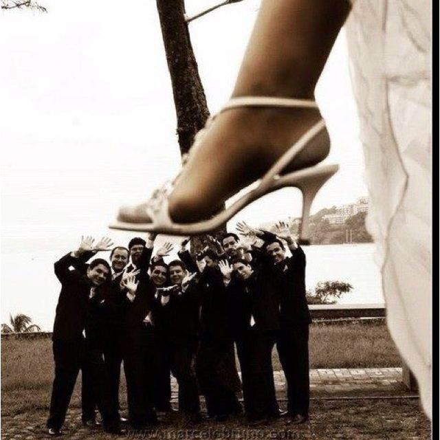 Great way to show off those expensive shoes hidden under your wedding dress all night!