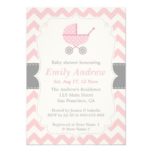 pink and white chevron stroller baby girl shower card