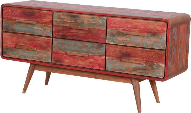 "Fishboat side table van ""old teak"", TV kast voor de vintage serre of overkapping"