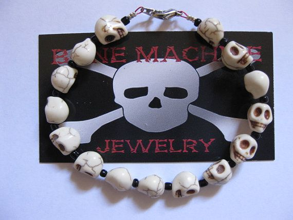 White Howlitemedium 12mm Skulls Skull by BoneMachineJewelry, $12.50, If you like original Jewelry and other different stuff Bone Machine Jewelry is the shop for You !!