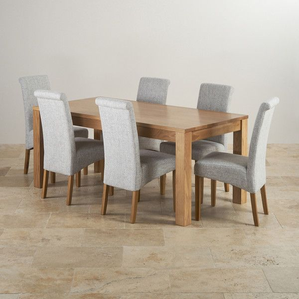 Oakdale Natural Solid Oak Dining Set 6ft Table With 6 Scroll