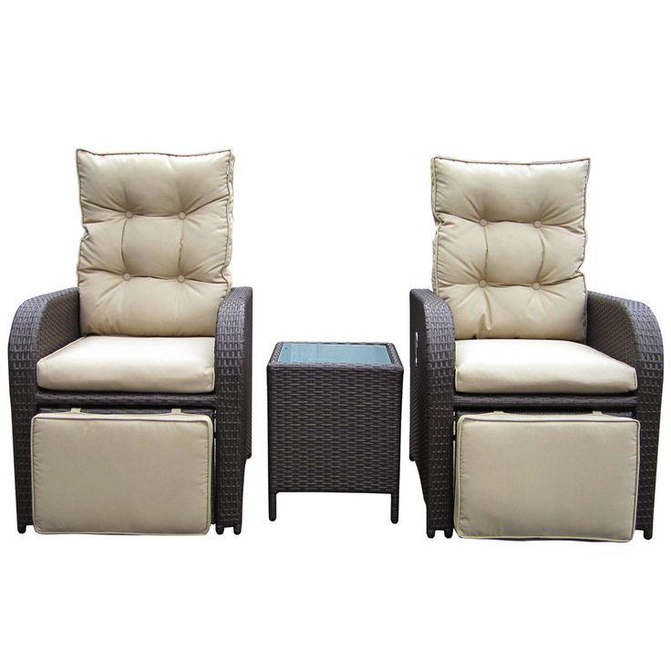 Buy Luxo Mykonos Twin Outdoor Recliner Set - Brown Online ... on Luxo Living Outdoor id=46482