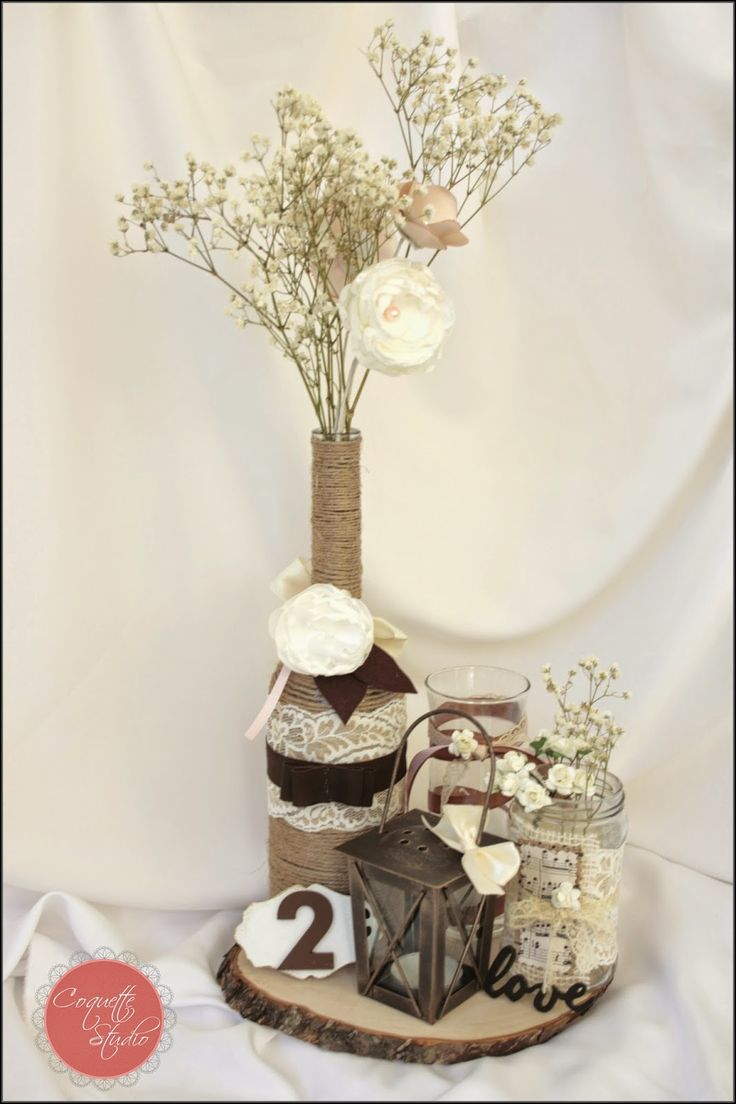 Coquette Studio: Rustic Wedding Rustic wedding centerpiece with burlap, lace, satin flowers