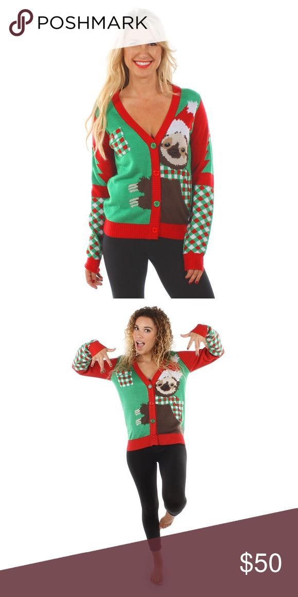 Tipsy Elves Sloth Sweater Worn twice, washed once. Ladies size medium. Cute detailing all over. Tipsy Elves Sweaters V-Necks