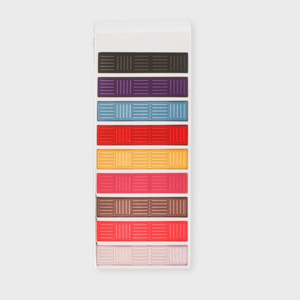 Men's money clip with multi-coloured stripe inserts with a cross-hatch pattern.