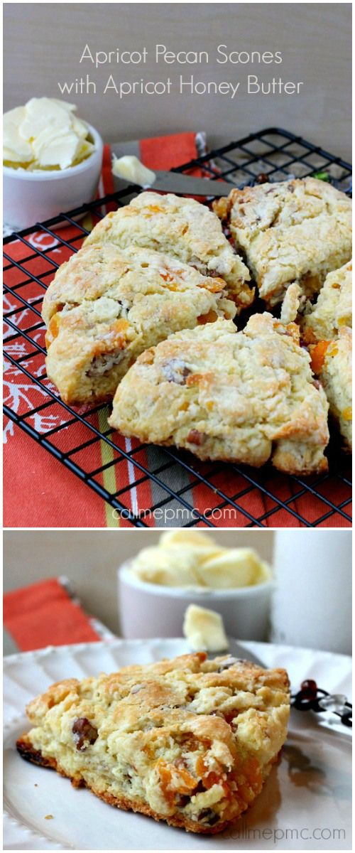 With a flaky crust and a creamy, buttery inside my Apricot Pecan Scones with Apricot Honey Butter is a melt-in-your-mouth pleasure sensation.