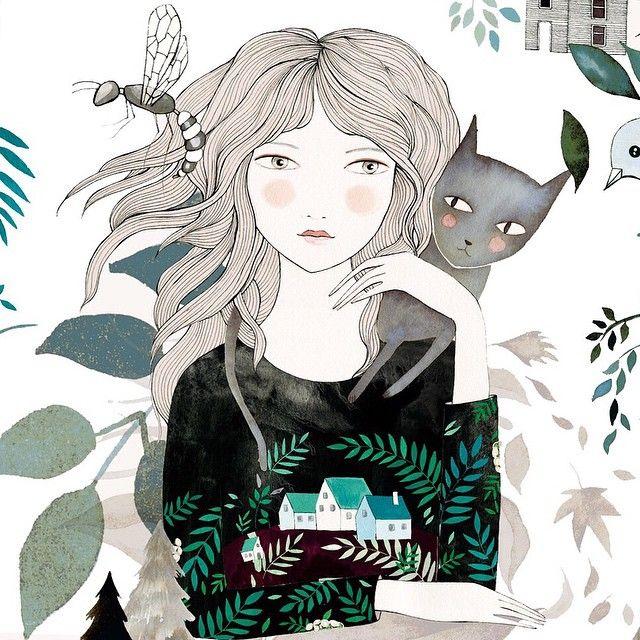 Estoy seleccionando nuevos prints, gracias a vuestros mensajes esta muchacha estará dentro de nada impresa en papel de acuarela  #ladydesidia #catlover #gatetes