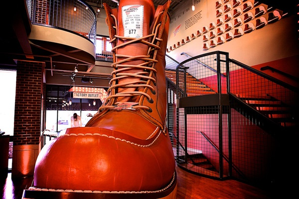 See the World's Largest Boot inside the Red Wing Shoe store.
