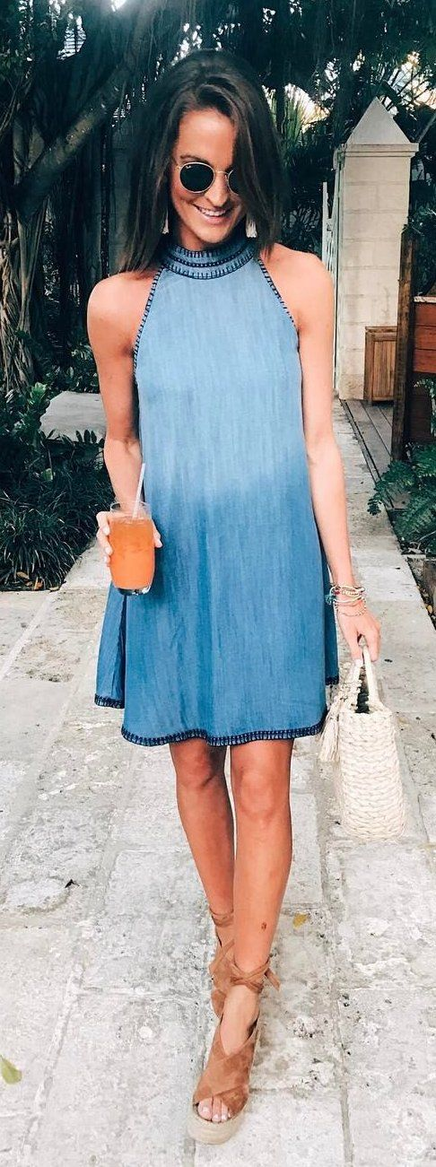 #summer #outfits Blue Tie Dye Dress + Brown Wedge