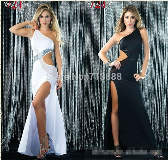 Find More Apparel & Accessories Information about Free Shipping New Fashion Women Sexy One Shoulder Party Cocktail Clubwear Latin Maxi Long Dress Black  White,High Quality Apparel & Accessories from Winni Wu's store on Aliexpress.com