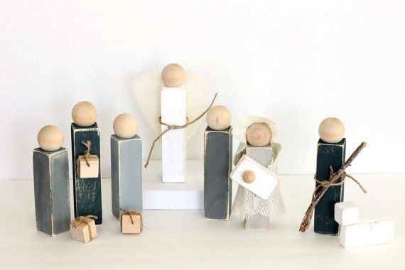 Rustic Wooden Nativity Set  Dolls by Clever Nest Shop, $45. Figures range from 6-7 in. tall.  This beautiful set includes Mary, Joseph, Baby Jesus, Angel, three Wise Men, Shepherd,