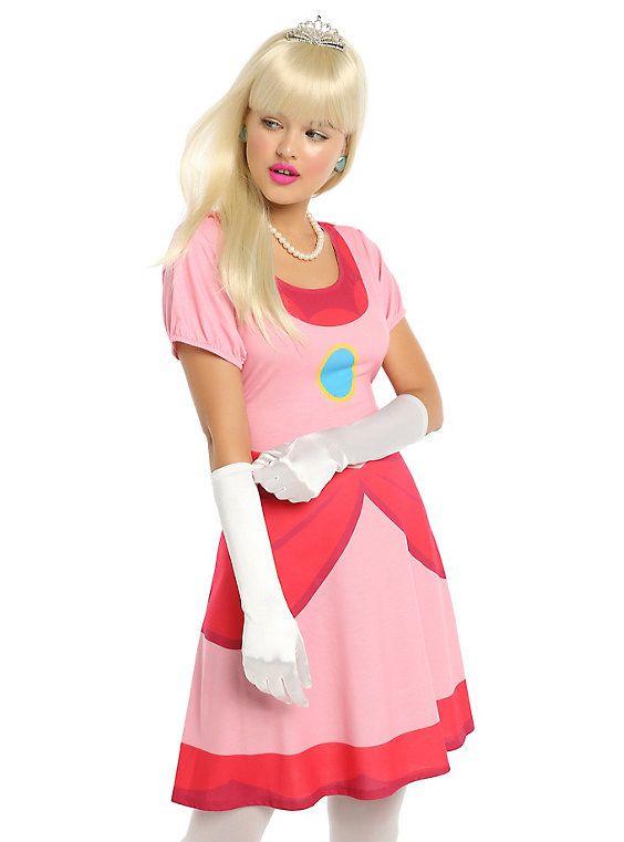 Super Mario Princess Peach Cosplay Dress, MULTI