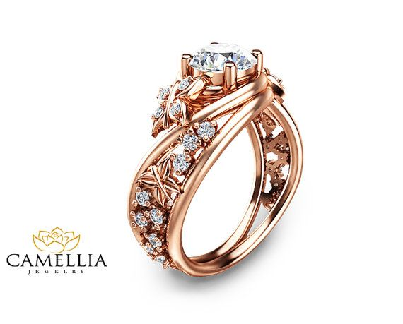 14K Rose Gold Diamond Ring Alternative by CamelliaJewelry on Etsy