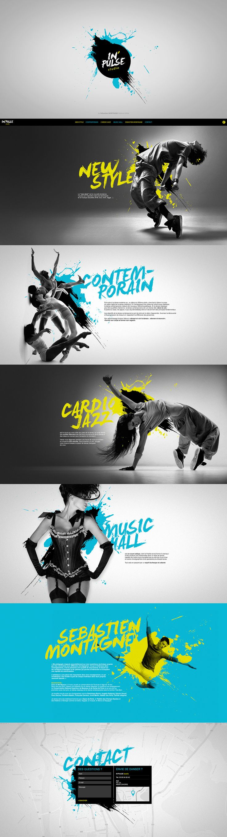 IN'PULSE studio on Behance #snevi #website #site #web #artdirection #onepagesite #sebastienmontagne #inpulsestudio #dance #danse #dancestudio #contemporain #jazz #cardio #cardiojazz #musichall #newstyle #artwork