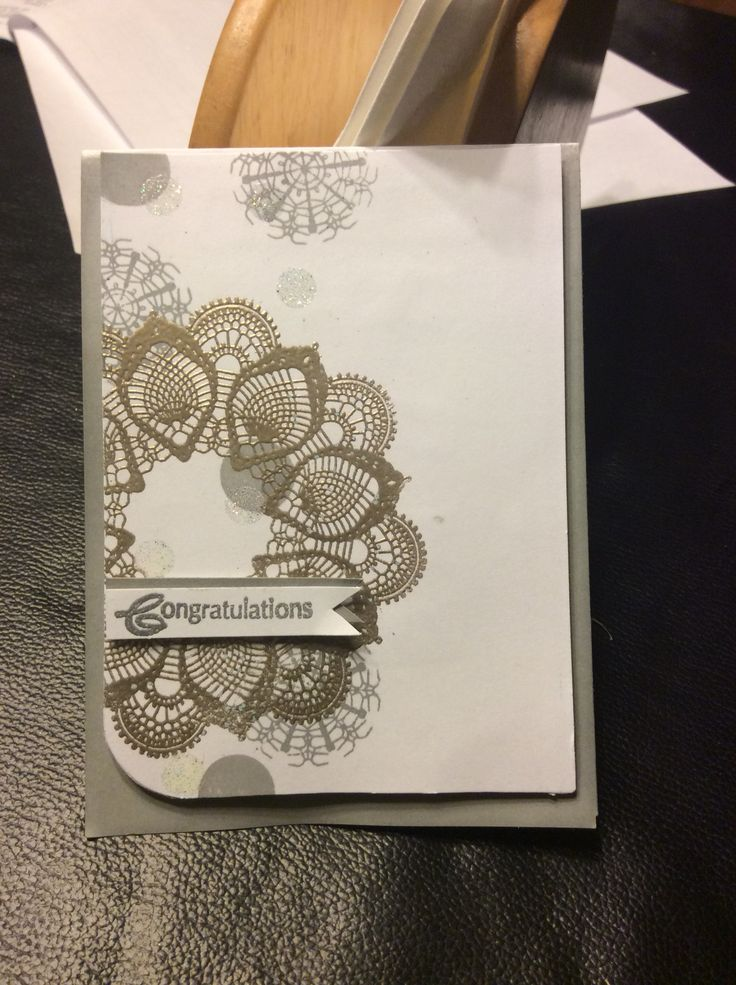 Gray, white and silver elegant wedding congratulations card