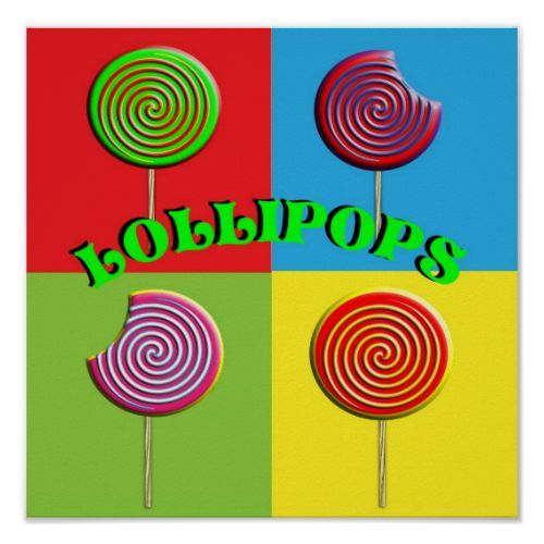 A bright modern retro style pop art picture poster of big round Candy Lollipops in red, green, yellow, blue, purple, orange; in fact just about all the colors of the rainbow. Great for a kids room and anyone who is young at heart. #lolly #lollipops #pop-art #colorful #bright #modern #retro #funky #rainbow #red #blue #yellow #green #purple #kids #young-at-heart #fun #toffee #candy #sweets #pops