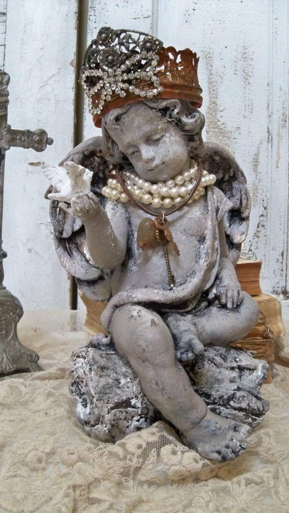 Angel cherub statue with crown shabby chic by AnitaSperoDesign, $270.00