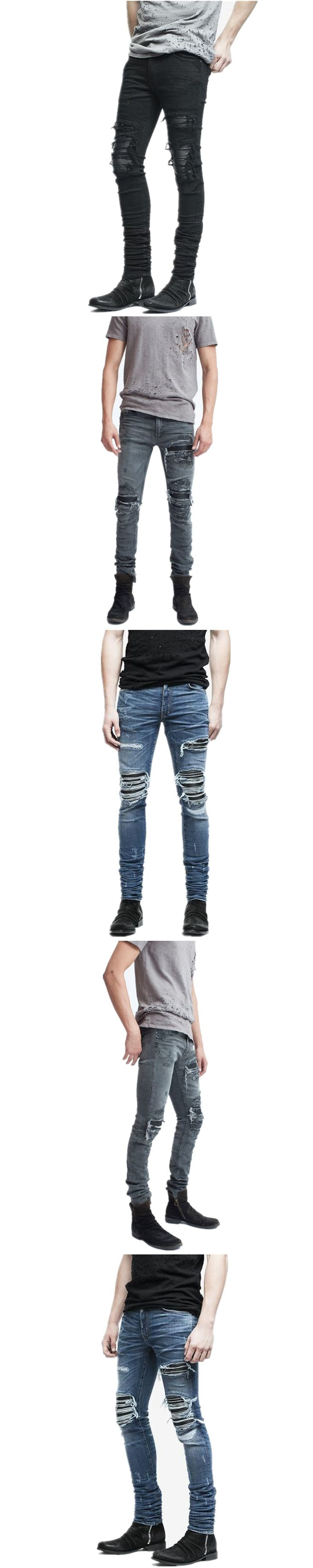 New Dropshipping Men Jeans Ripped Stretch Hole Distressed Mens Biker Pleated Skinny Jeans Streetwear Hip Hop Jogger Pants