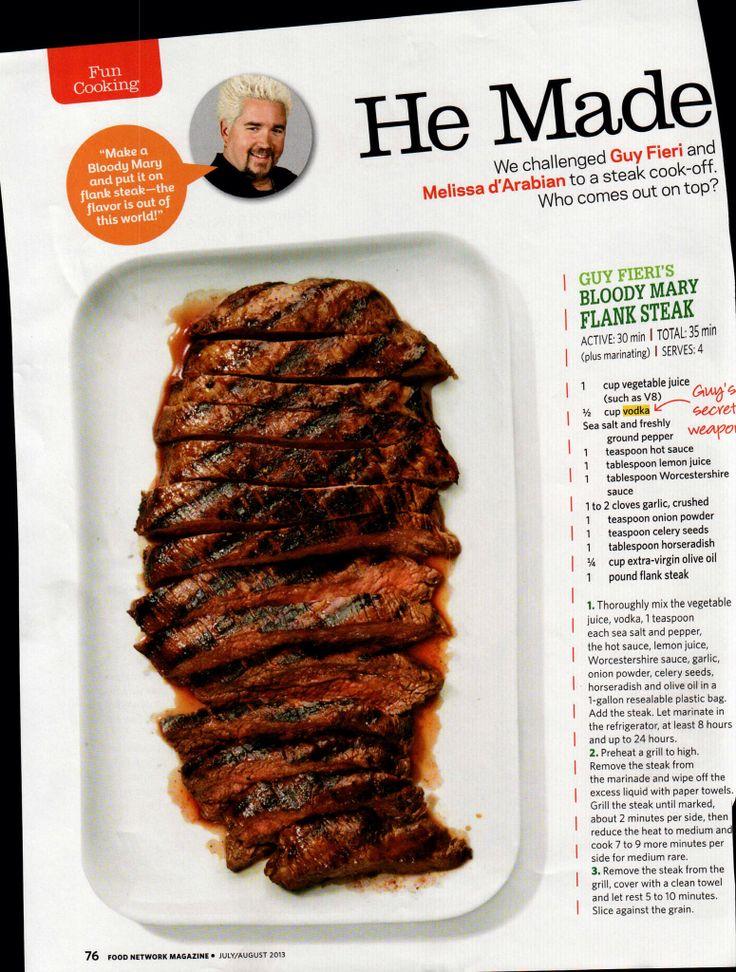 Guy Fieri's Bloody Mary Flank Steak   Food Network ...
