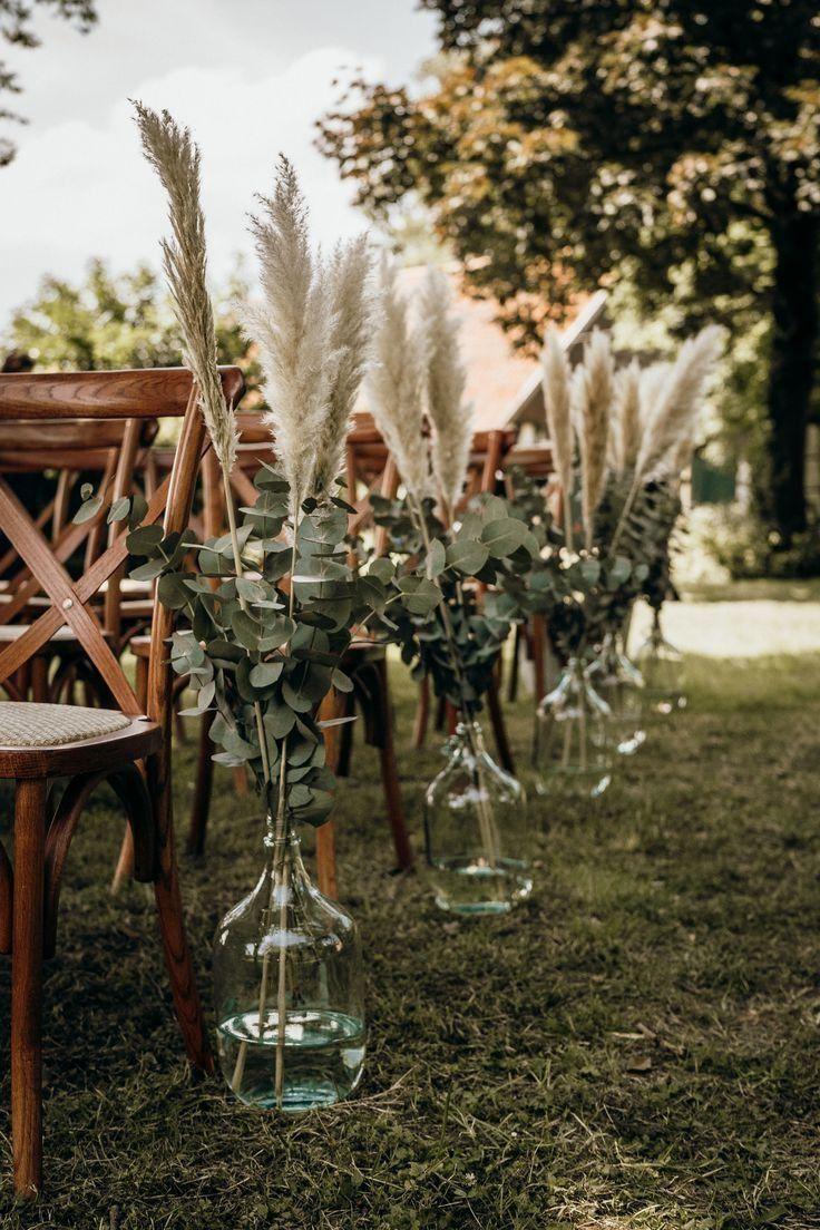 rustic pampas grass and eucalyptus wedding aisle ideas