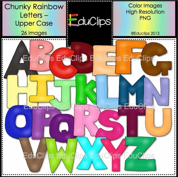 """Awesome FREE clip art """"Chunky Rainbow Letters""""  They come in black line, too!"""