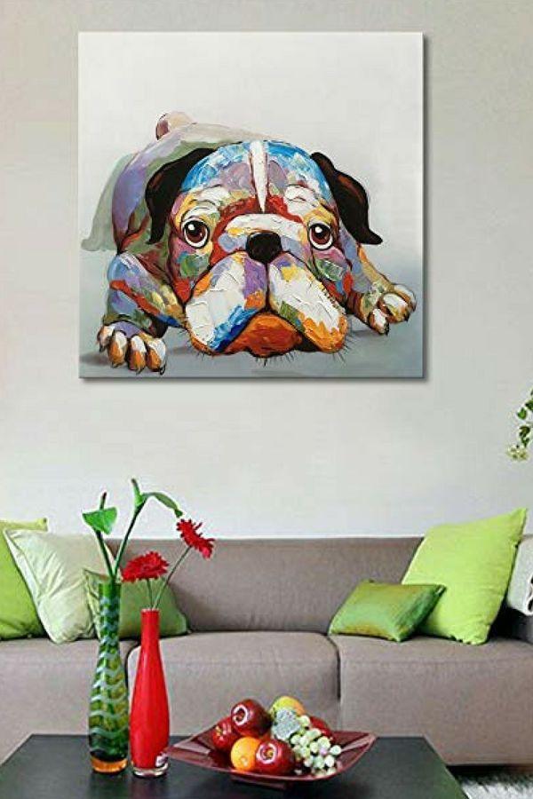 Popular Cute And Funny Bulldog Wall Art Wall Design Wall Art