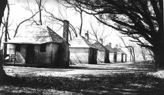 Slave Quarters at the Hermitage Plantation, Chatham County, Georgia. Photograph by Charles E. Peterson, 1934. Slave cabins generally had chimneys prone to catching fire, roofs that leaked, dirt floors, and walls with gaping holes. Many slaves worked very hard to transform their quarters into homes.