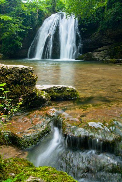 Yorkshire Dales, Janet's Foss waterfall is located near Gordale, (just east of Malham) Yorkshire, UK. A trail leads to the falls named after a mythical sprite (Janet) who is supposed to have dwelt there