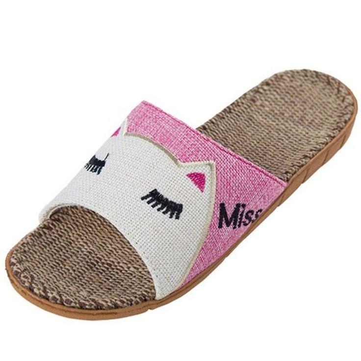 Women Summer Slippers Sandals High Quality Flax Linen Rubber Home Indoor Garden #Unbranded #Indoor