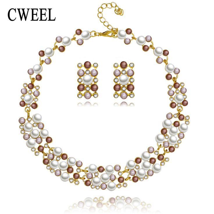 CWEEL Trendy Gold Plated Mix Color Imitation Pearls Necklace Earrings Women Bride Jewelry Sets Classic Party Dress Accessories