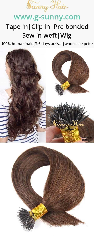 sunny hair dark brown human hair extensions. micro link nano ring hair extensions. g-sunny.com