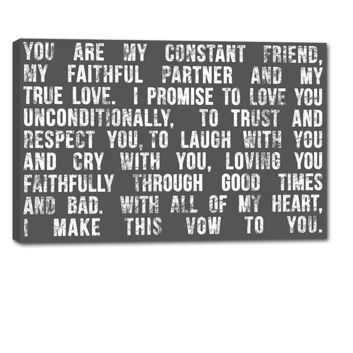 Words of love to your partner personalized just for him or her.  http://geezees.com/ #decor #vows #quotes