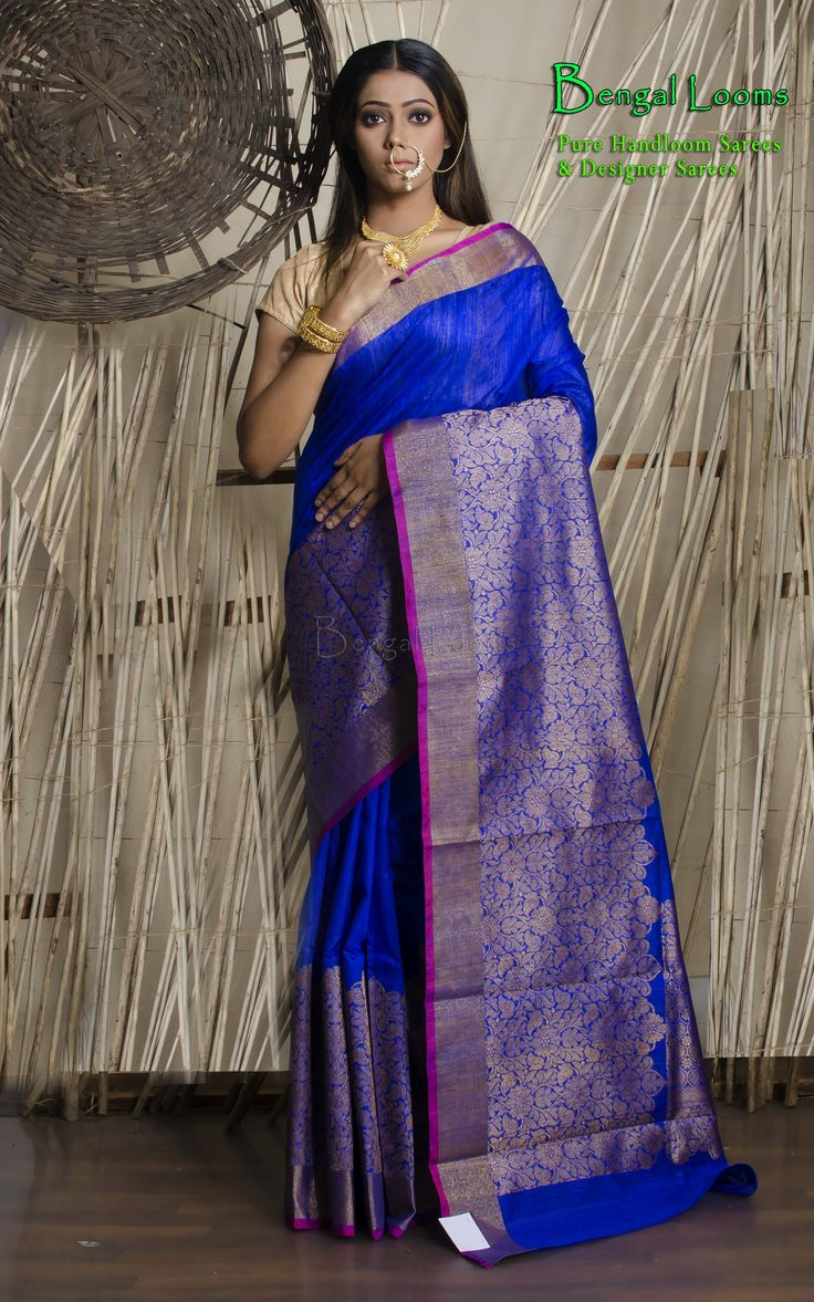 Royal Blue Tussar Silk Banarasi Saree with wide antique zari woven border available for sale from Bengal Looms.