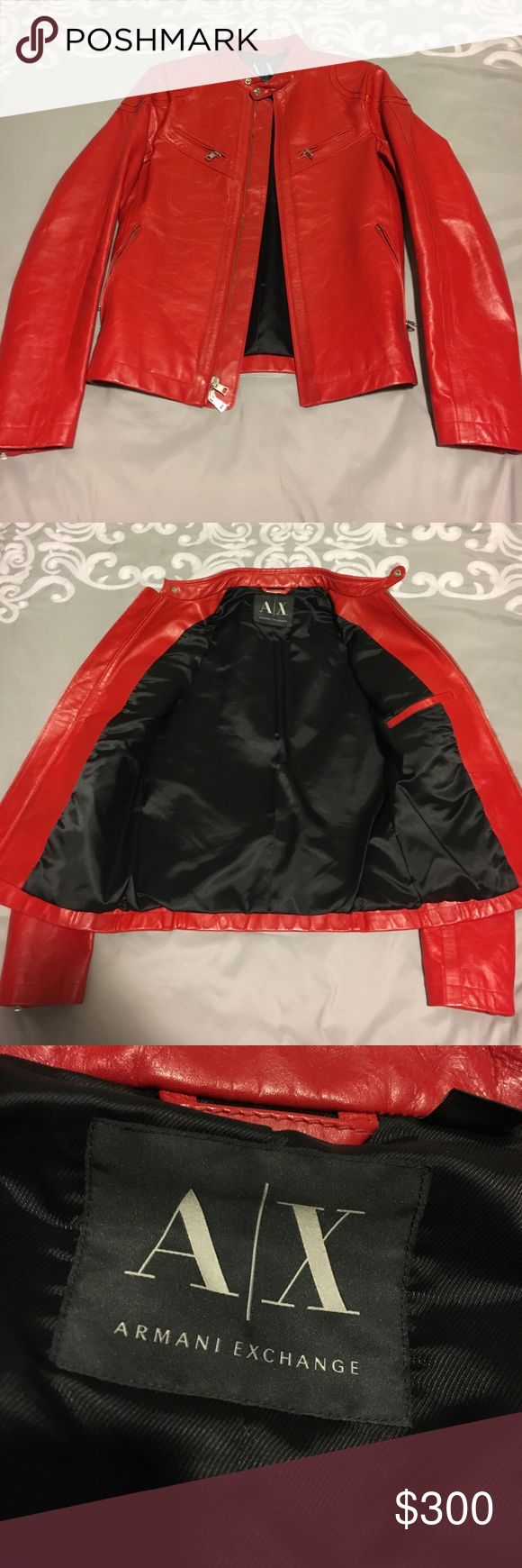 Armani Exchange Leather jacket Armani Exchange genuine cowhide leather in bright red! Thick leather in a beautiful true red color. Very soft black lining. This jacket has only been worn a handful of special occasions and is in near perfect condition! AX jackets fit very snug. This is a small. A/X Armani Exchange Jackets & Coats Performance Jackets