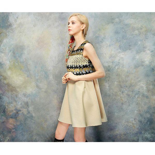 Sleeveless Paneled Printed A-Line Dress ($55) ❤ liked on Polyvore featuring dresses, blue sleeveless dress, elf sack dress, a line shape dress, a line dress and blue a line dress