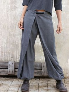 Unique grey Womens pants, Origami trousers, 4 way pants, womens wrap pants, Wide pants, Convertible pants