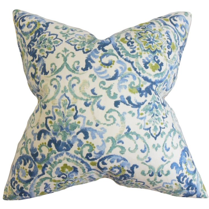 Halcyon Floral Feather and Down Filled Throw Pillow Blue Green - Overstock™ Shopping - Great Deals on PILLOW COLLECTION INC Throw Pillows