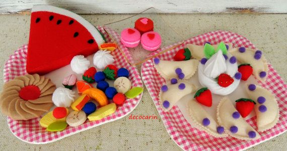Felt Food Party Gift Decor Dumplings Fruit Salad by decocarin