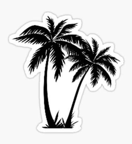 black and white stickers palm tree drawingtree