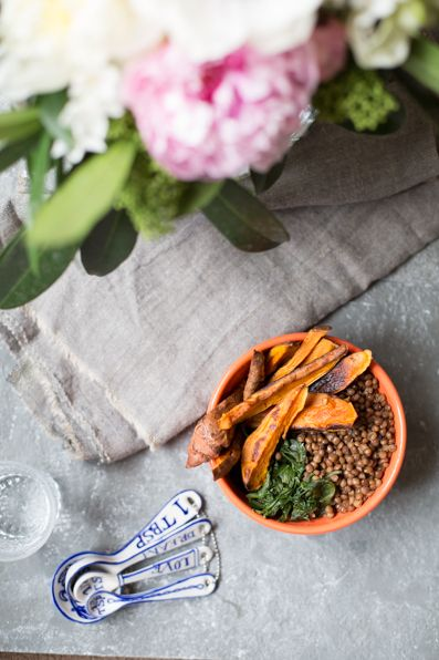 Sweet Potato, Lentil and Spinach Bowl