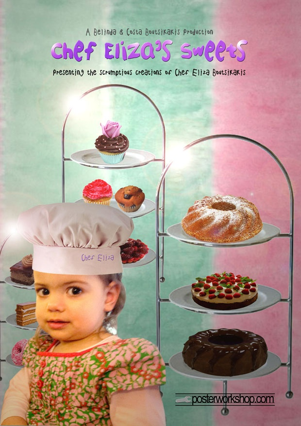 KIDS CHEF (SWEETS) MOVIE POSTER GIFT  From $45.00  Dream up your chocolatiest cupcakes, creamiest custard pies, lightest sponges and flakiest pastries for this ultimate sweet indulgence.  Star in this Chef Movie Poster and step into a wonderful world of sweet adventures.  Photo Tip: This poster works with or without a chef's outfit.  We can add a chef's hat to an ordinary (hatless) photo.  Imagine your favourite sweet as you snap your photo.