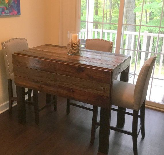 Barn wood drop leaf table by TwoStoreysBarnwood on Etsy